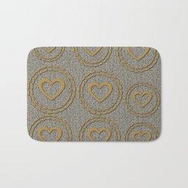 Cute Gold Hearts Pattern Bath Mat