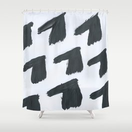 Horse, Abstract, Black & White Shower Curtain