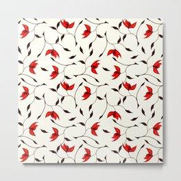 Strange Red Flowers Pattern Metal Print