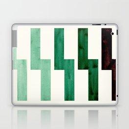 Teal Aquamarine Green Watercolor Gouache Geometric Pattern Zig Zag Lightning Bolt Shaped Mid Century Laptop & iPad Skin