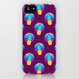 Vaporwave pineapples. Maroon background. iPhone Case