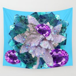 PURPLE AMETHYST  AQUAMARINE QUARTZ CRYSTAL ART Wall Tapestry