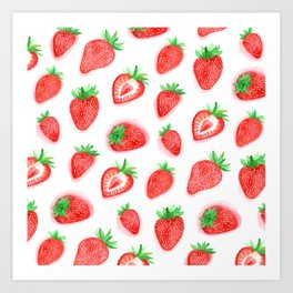 Watercolour Strawberries Art Print
