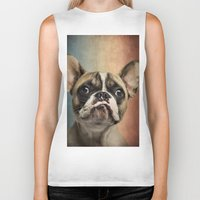 french Biker Tanks featuring French bulldog, french flag ! by Life on White Creative