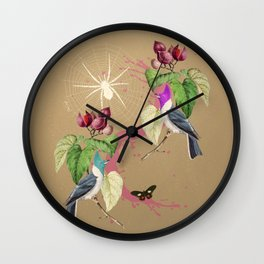 Exotic Gold Glitter Birds Spider by Black Jungle Wall Clock