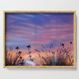 LOOK OUTSIDE - Flowers & Sunset #1 #art #society6 Serving Tray