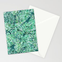 JUNGLE VIBES Green Monstera Watercolor Print Stationery Cards