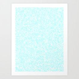 Tiny Spots - White and Celeste Cyan Art Print