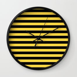 Even Horizontal Stripes, Yellow and Black, M Wall Clock