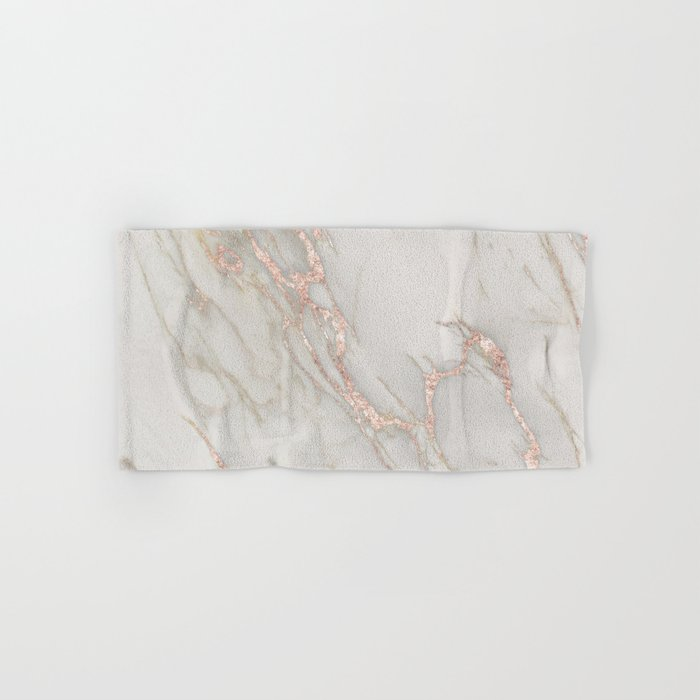 Marble Rose Gold Blush Pink Metallic by Nature Magick Hand & Bath Towel