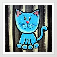 BW BLUE cat Art Print