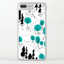 Outdoor Map Pattern Clear iPhone Case