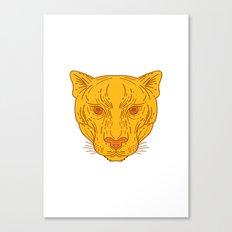Cougar Mountain Lion Head Mono Line Canvas Print