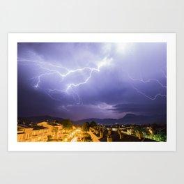 Lightning night Art Print