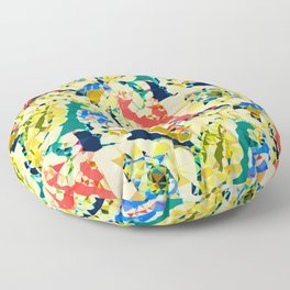 Vintage Teal Quasi Paisley Abstract Low Poly Geometric Art  Floor Pillow