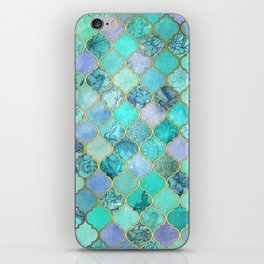 Cool Jade & Icy Mint Decorative Moroccan Tile Pattern iPhone Skin