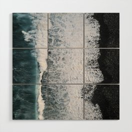 Aerial of a Black Sand Beach with Waves - Oceanscape Wood Wall Art