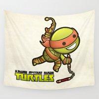 ninja turtles Wall Tapestries featuring Michelangelo - Kawaii Mutant Ninja Turtles by Squid&Pig