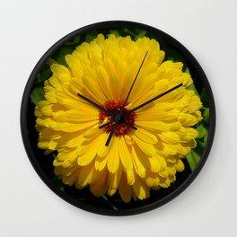 Holligold Blossoming Yellow Pot Marigold Flower  Wall Clock