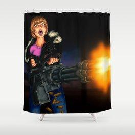 gatling girl Shower Curtain