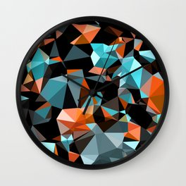 Copper Vein Abstract Low Poly Geometric Triangles Wall Clock
