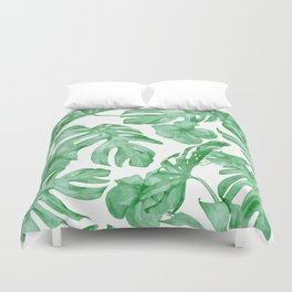 Tropical Island Leaves Green on White Duvet Cover