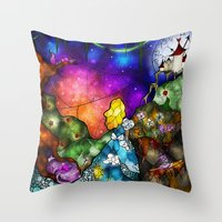mandie manzano Throw Pillows featuring Wonderland (Once Upon A Time Series) by Mandie Manzano