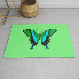 Swallowtail Butterfly in Green, Turquoise & Black Rug