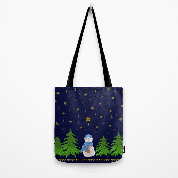 Sparkly gold stars, snowman and green tree Tote Bag