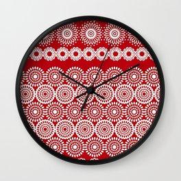 Cute Red Crochet Lace Flowers  Wall Clock