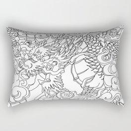Tokyo Asakusa Dragon - Line Art Rectangular Pillow