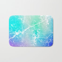 Modern turquoise purple watercolor abstract marble Bath Mat