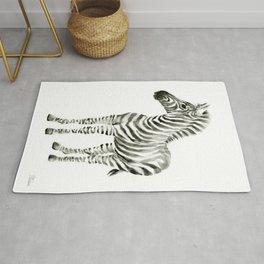 Zebra Watercolor Baby Animals Rug