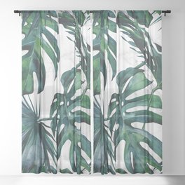 Tropical Palm Leaves Classic on Marble Sheer Curtain