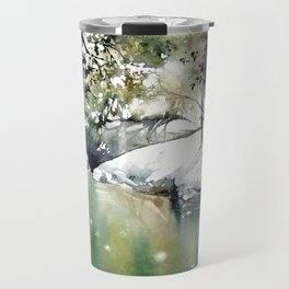 Running water down below in the dark, frozen forest Travel Mug