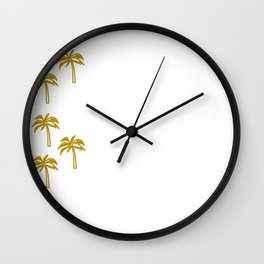 Exotic design palms gold on white Wall Clock