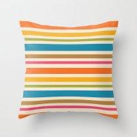 stripe Throw Pillows featuring stripe by bobbybard