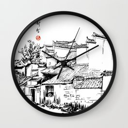 Chinese ink painting of Chinese village Wall Clock