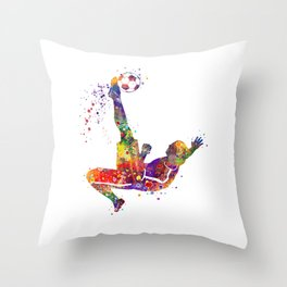 Bicycle Kick Boy Soccer Player Colorful Watercolor Art Striker Gift Football Player Gift Throw Pillow