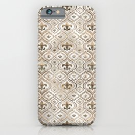 Fleur-de-lis pattern pearl and gold iPhone Case
