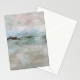 Sage Green Sky Blue Blush Pink Abstract Nature Sunrise Reflection Wall Art Painting Land Sky Earth Stationery Cards