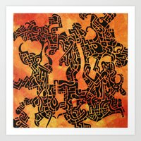 Orange Abstract Print Art Print
