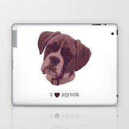 I love my dog - Boxer, pink Laptop & iPad Skin