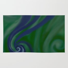 BLUE and green SWIRL Rug