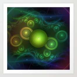 Retrotacular Rainbow Dots in a Fractal Microscope Art Print