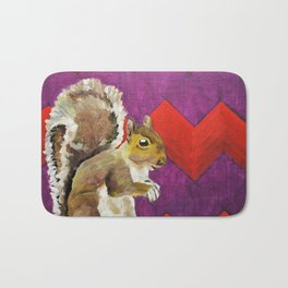 Orange and Purple Chevron Squirrel by Mike Kraus - art animals wildlife silly fun children kids fun Bath Mat