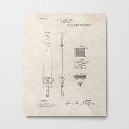 Razor Strop Vintage Patent Hand Drawing Metal Print