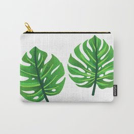 green monstera leaves illustration Carry-All Pouch