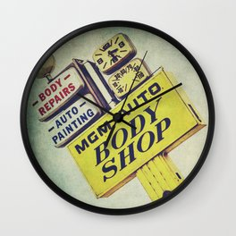 MGM Auto Body Shop Vintage Sign Wall Clock