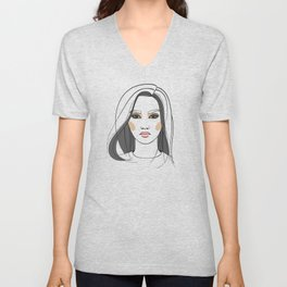 Asian woman with long hair. Abstract face. Fashion illustration Unisex V-Neck